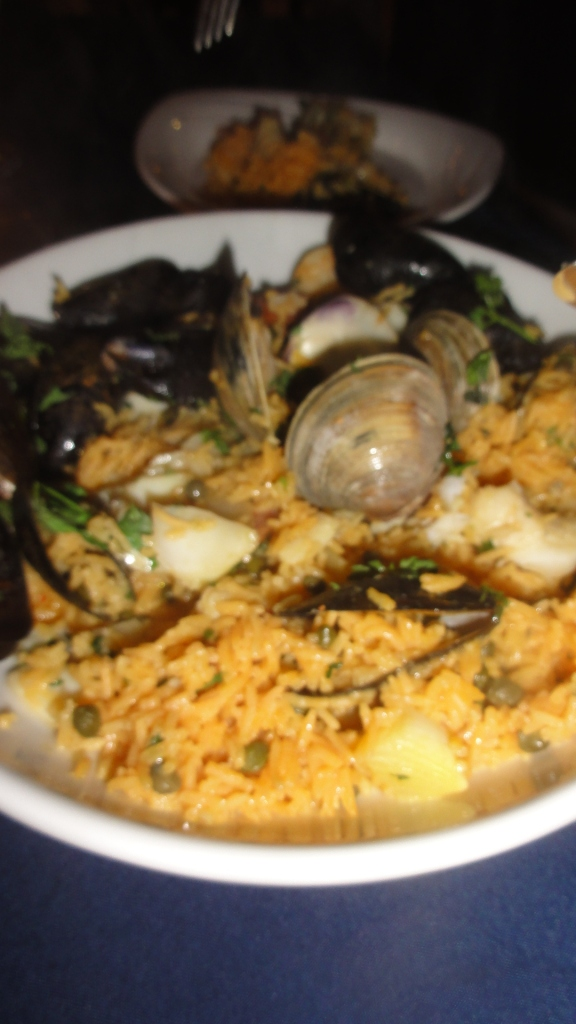 Seafood Paella with lobster, haddock, mussels, clams and chorizo