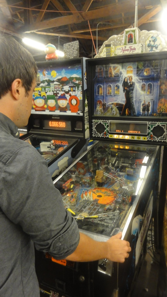 Thibaut humored me and we went to the arcade. I had hoped they had Addam's Family pinball. It was my favorite as a kid.
