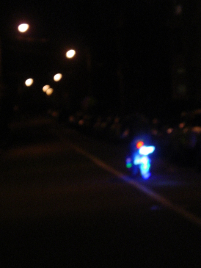 A man with battery-operated lights adorning his bike. He was pretty amazing.