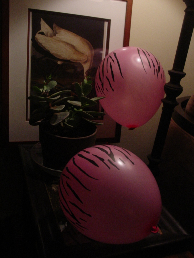 Zebra-striped balloons, or nail scratched... You decide