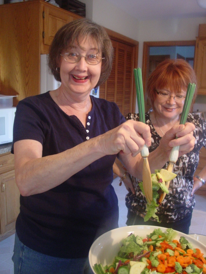 Lauren using her green onion salad tongs I got for her years ago