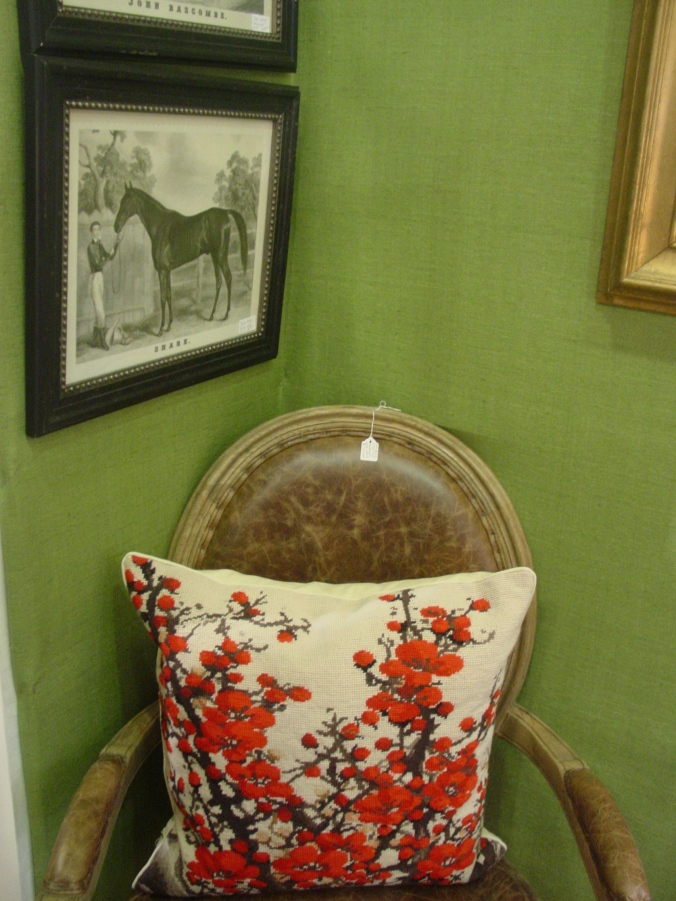 Worn chair, with antique horse print