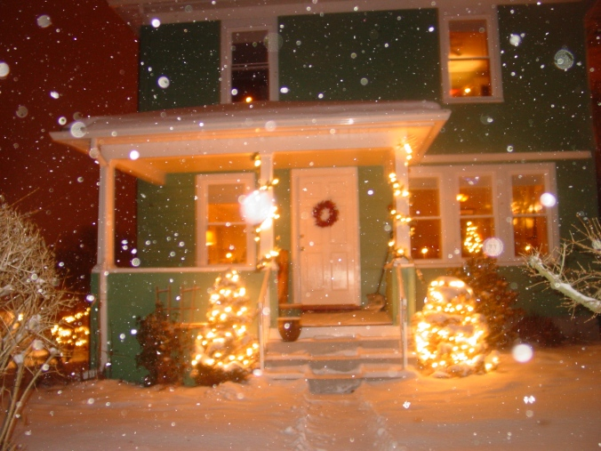 Rich green, saturated orange, white snow