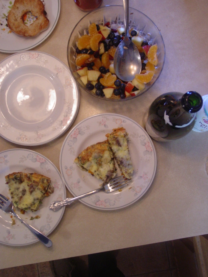 Roasted Vegetable Fritata with Mimosas