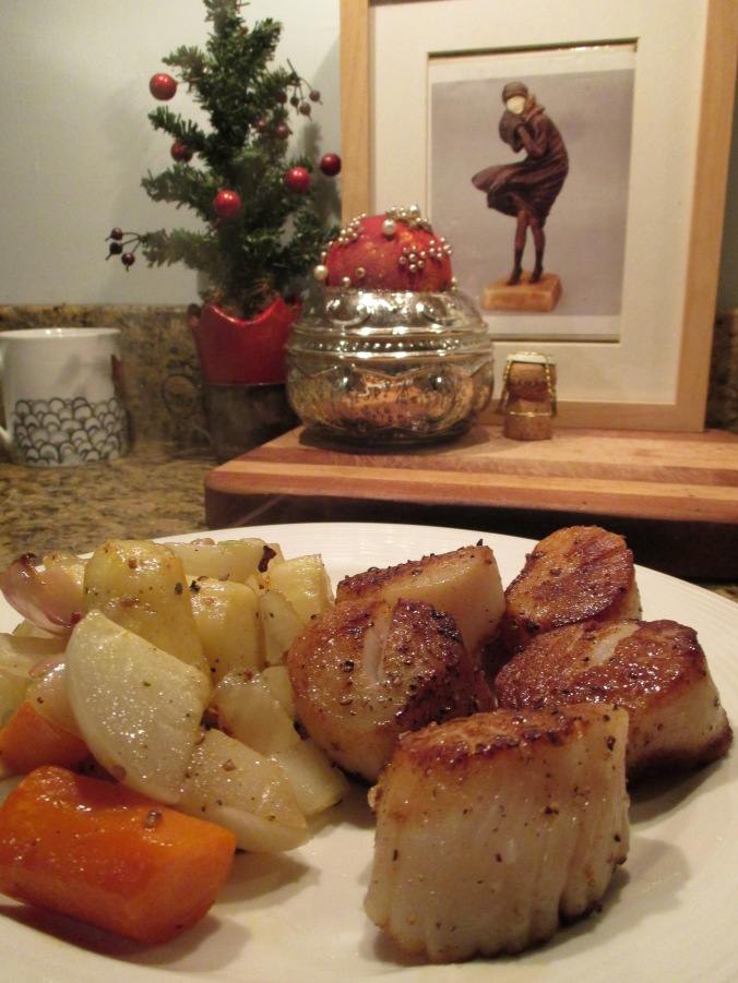 Seared scallops with roasted root vegetables