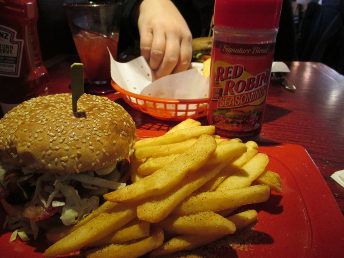 Red Robin Gauc Burger w. their famous seasoning